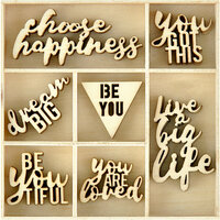 Kaisercraft - Misty Mountains Collection - Flourishes -Die Cut Wood Pieces Pack - Be You