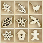 Kaisercraft - Flourishes - Die Cut Wood Pieces Pack - Festive Foliage