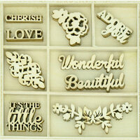 Kaisercraft - Flourishes - Die Cut Wood Pieces Pack - Wonderful