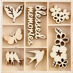 Kaisercraft - Morning Dew Collection - Flourishes - Die Cut Wood Pieces Pack - 40 Pieces