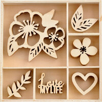 Kaisercraft - Magenta Collection - Flourishes - Die Cut Wood Pieces Pack - 30 Pieces