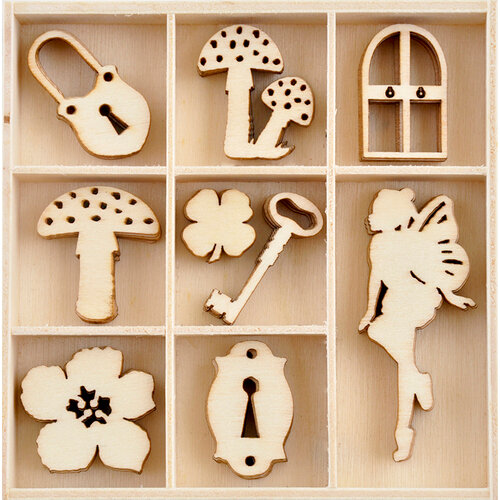 Kaisercraft - Enchanted Collection - Flourishes - Die Cut Wood Pieces Pack - 45 Pieces