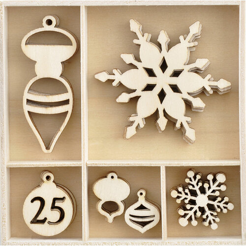 Kaisercraft - Christmas - Let It Snow Collection - Flourishes - Die Cut Wood Pieces Pack