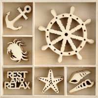 Kaisercraft - Uncharted Waters Collection - Flourishes - Die Cut Wood Pieces Pack