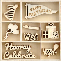Kaisercraft - Oh Happy Day Collection - Flourishes - Die Cut Wood Pieces Pack