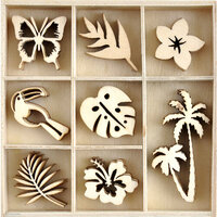Kaisercraft - Sunkissed Collection - Flourishes - Die Cut Wood Pieces Pack