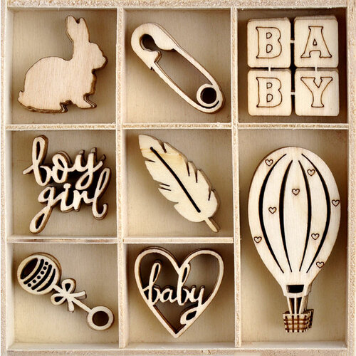 Kaisercraft - Little Treasures Collection - Flourishes - Die Cut Wood Pieces Pack
