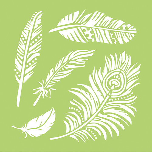 Kaisercraft - 12 x 12 Stencils Template - Feathers