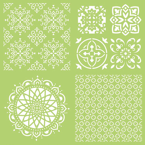 Kaisercraft - 12 x 12 Stencils Template - Intricate Tiles