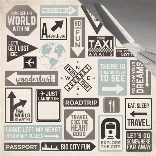 Kaisercraft - Just Landed Collection - 12 x 12 Double Sided Paper - Sign Posts