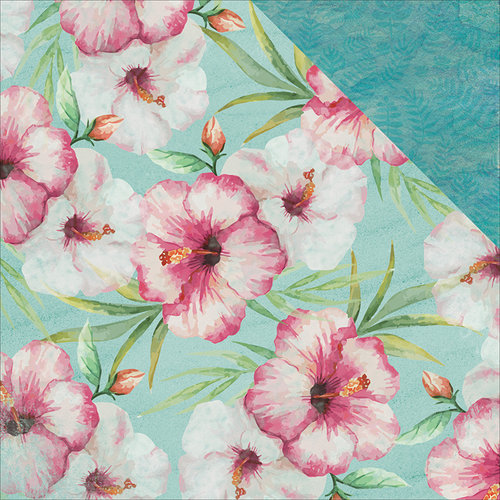 Kaisercraft - Island Escape Collection - 12 x 12 Double Sided Paper - Pink Hibiscus