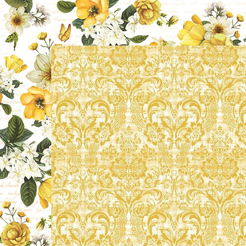 Kaisercraft - Golden Grove Collection - 12 x 12 Double Sided Paper - Gold Dahlia