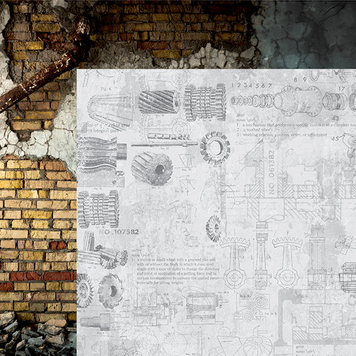 Kaisercraft - Factory 42 Collection - 12 x 12 Double Sided Paper - Plans