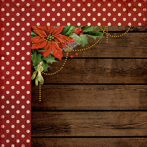 Kaisercraft - Letters to Santa Collection - Christmas - 12 x 12 Double Sided Paper - Poinsettia Garland
