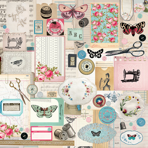 Kaisercraft - Miss Betty Collection - 12 x 12 Double Sided Paper - Thread
