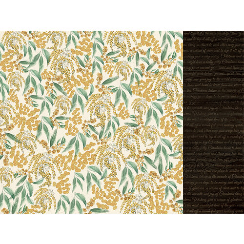 Kaisercraft - Christmas - Under The Gum Leaves Collection - 12 x 12 Double Sided Paper - Wattle