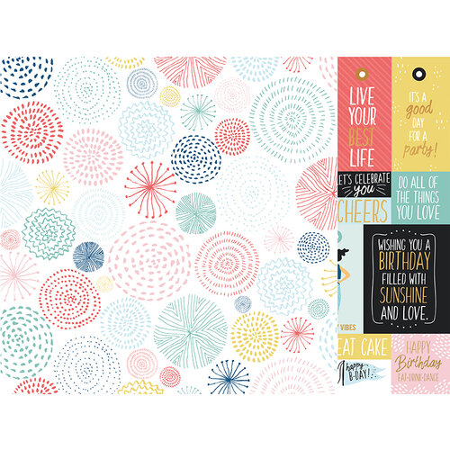 Kaisercraft - Oh Happy Day Collection - 12 x 12 Double Sided Paper - Bright Bursts
