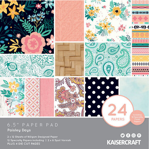 Kaisercraft - Paisley Days Collection - 6.5 x 6.5 Paper Pad