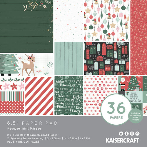 Kaisercraft - Christmas - Peppermint Kisses Collection - 6.5 x 6.5 Paper Pad