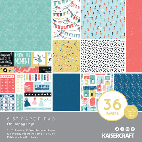 Kaisercraft - Oh Happy Day Collection - 6.5 x 6.5 Paper Pad