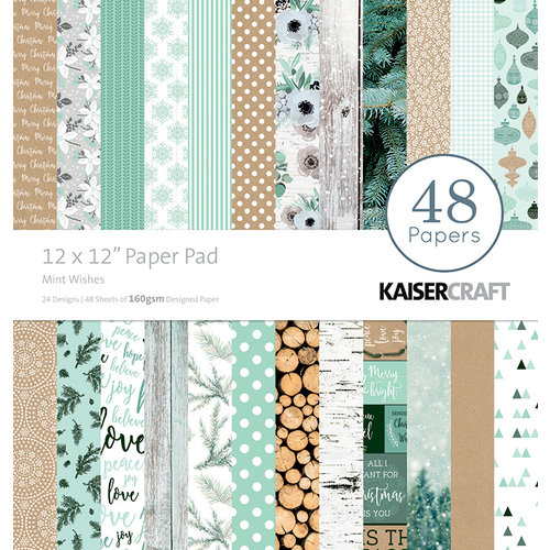 Kaisercraft - Mint Wishes Collection - Christmas - 12 x 12 Paper Pad