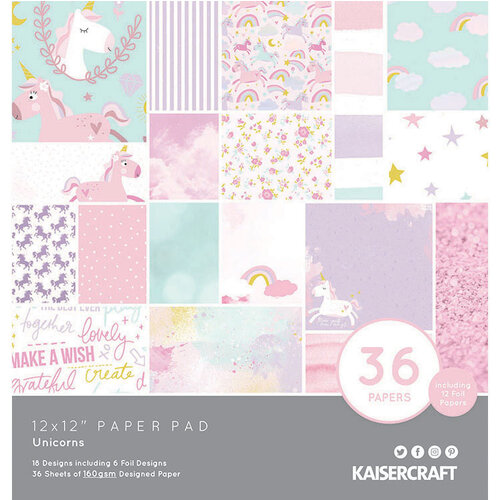 Kaisercraft - Unicorns Collection - 12 x 12 Paper Pad with Foil Accents