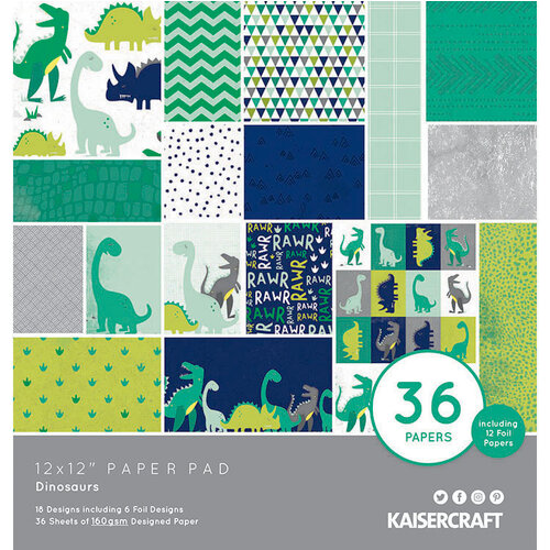 Kaisercraft - Dinosaurs Collection - 12 x 12 Paper Pad with Foil Accents