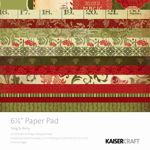 Kaisercraft - Twig and Berry Collection - Christmas - 6.5 x 6.5 Paper Pad