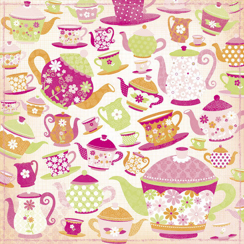 Kaisercraft - Candy Lane Collection - 12 x 12 Paper with Glitter Accents - Tea Party