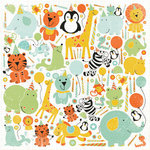 Kaisercraft - Party Animals Collection - 12 x 12 Paper with Varnish Accents - Chuckle