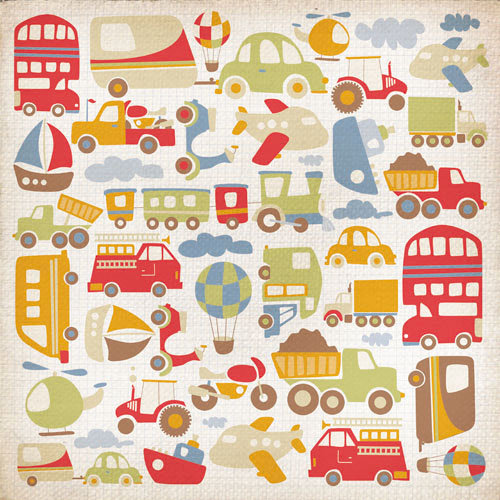Kaisercraft - Little Toot Collection - 12 x 12 Paper with Varnish Accents - Traffic Jam