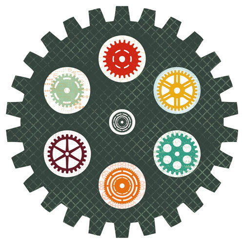 Kaisercraft - Technologic Collection - 12 x 12 Die Cut Paper - Cog