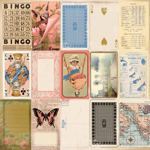 Kaisercraft - Miss Match Collection - 12 x 12 Perforated Paper with Varnish Accents - Goodies