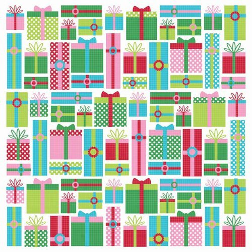 Kaisercraft - Mint Twist Collection - Christmas - 12 x 12 Paper with Varnish Accents - Gifts