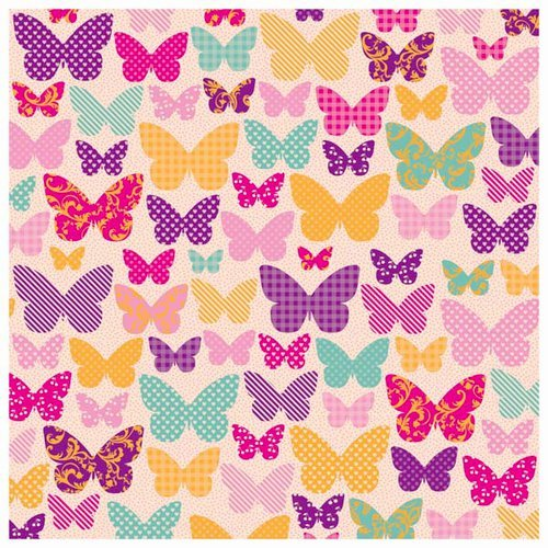 Kaisercraft - Butterfly Kisses Collection - 12 x 12 Paper with Varnish Accents - Kaleidoscope