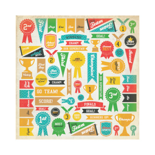 Kaisercraft - Class Act Collection - 12 x 12 Paper with Varnish Accents - Awards