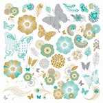 Kaisercraft - Elegance Collection - 12 x 12 Paper with Varnish Accents - Meadow