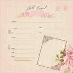 Kaisercraft - Pitter Patter Collection - 12 x 12 Paper with Glossy Accents - Birth Record Girl