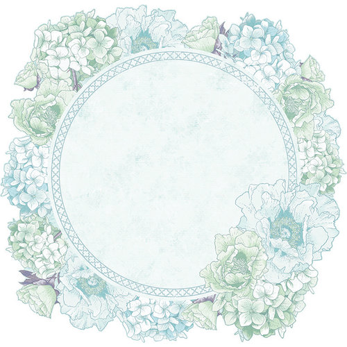 Kaisercraft - Lilac Whisper Collection - 12 x 12 Die Cut Paper - Hydrangea Wreath