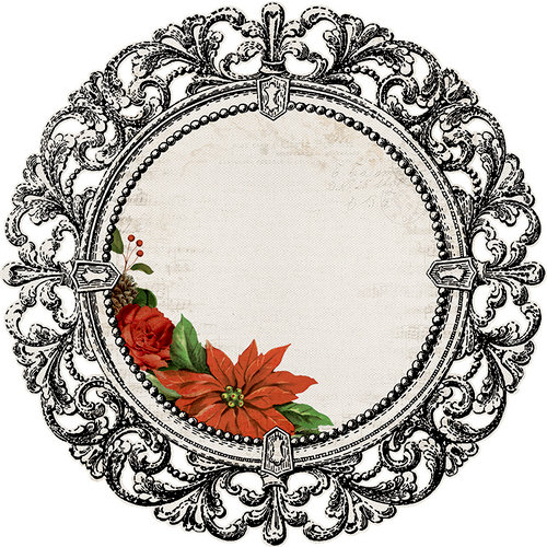 Kaisercraft - Letters to Santa Collection - Christmas - 12 x 12 Die Cut Paper - Poinsettia Frame