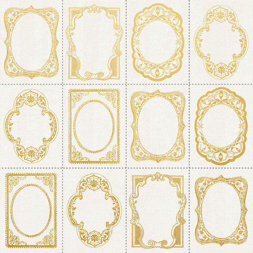 Kaisercraft - Romantique Collection - 12 x 12 Paper with Foil Accents - Gold Frames