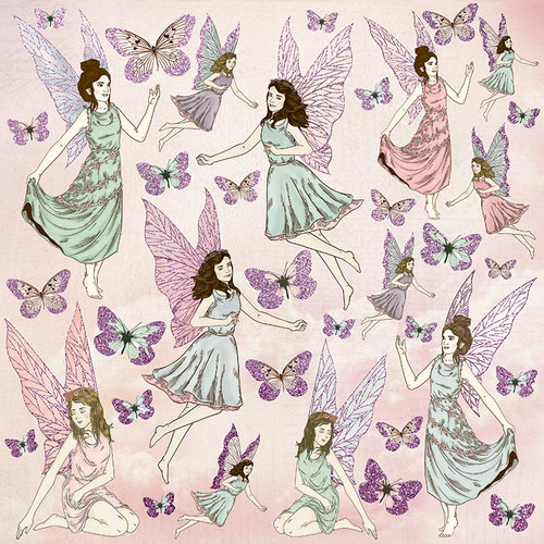 Kaisercraft - Fairy Garden Collection - 12 x 12 Paper with Glitter Accents - Flutterby