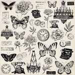 Kaisercraft - Pen and Ink Collection - 12 x 12 Paper with Foil Accents - Antiques