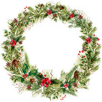 Kaisercraft - Peace and Joy Collection - Christmas - 12 x 12 Die Cut Paper - Leafy Wreath