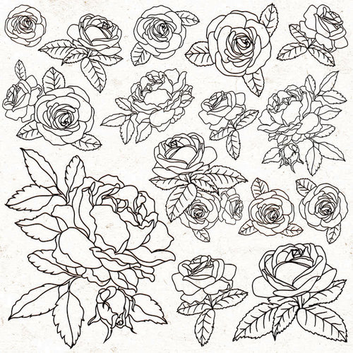 Kaisercraft - Peachy Collection - 12 x 12 Paper with Glossy Accents - Roses
