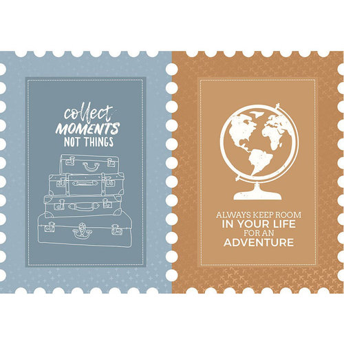 Kaisercraft - Let's Go Collection - 12 x 12 Die Cut Paper - Postage Stamp