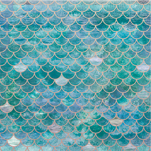 Kaisercraft - Deep Sea Collection - 12 x 12 Paper with Foil Accents - Mermaid Scales