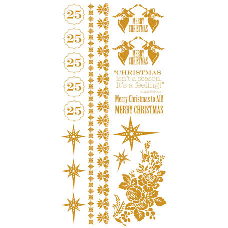 Kaisercraft - December 25th Collection - Christmas - Rub Ons - Gold Foil