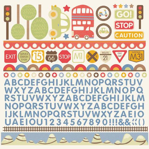 Kaisercraft - Little Toot Collection - 12 x 12 Sticker Sheet