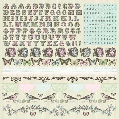 Kaisercraft - Bonjour Collection - 12 x 12 Sticker Sheet - Alphabet